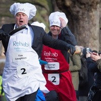 Just some pictures of politicians running and flipping pancakes because it's Pancake Day