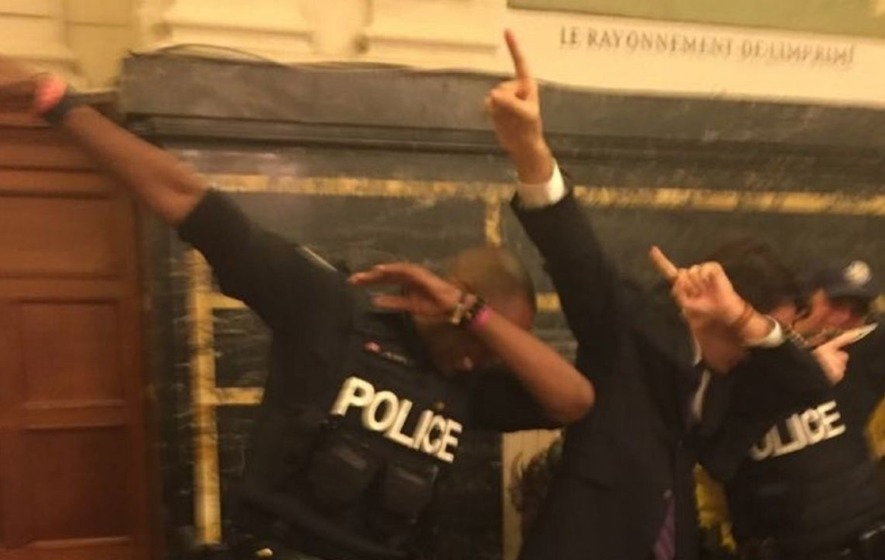 Here's a picture of Justin Trudeau dabbing to brighten your day