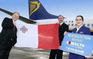 Ryanair celebrates new Malta service from Belfast International Airport with £9.99 European seat sale