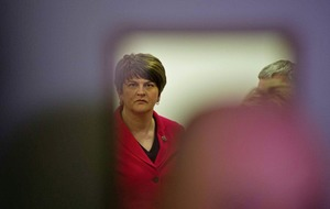 Arlene Foster locks herself away in private room with security