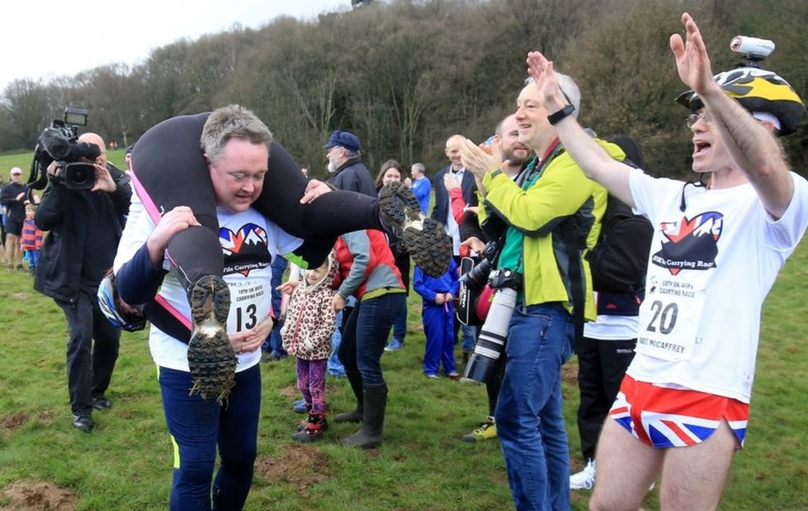 We put funny quotes about marriage over pictures of Dorking's annual Wife Carrying Race