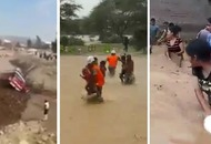 Videos show the devastating effects of rain and floods as thousands are left homeless in Peru