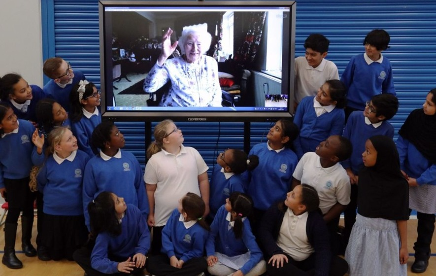 Pupils from Dame Vera Lynn's old primary school sing Happy Birthday to her