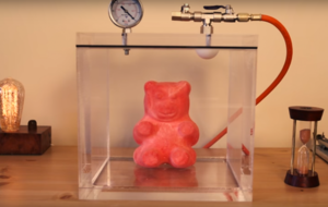 Watch what happens to a giant gummy bear in a vacuum - it's kind of freaky