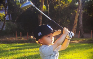 Watch: Two-year-old golfing prodigy Sam Blewett sinks trick shots for fun