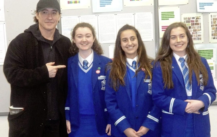 Actor John Cusack meets students from Co Down school
