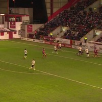This goal-line miss from Aberdeen's Miles Storey has to be seen to be believed