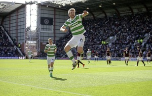 Celtic midfielder Stuart Armstrong keeping his feet on the ground