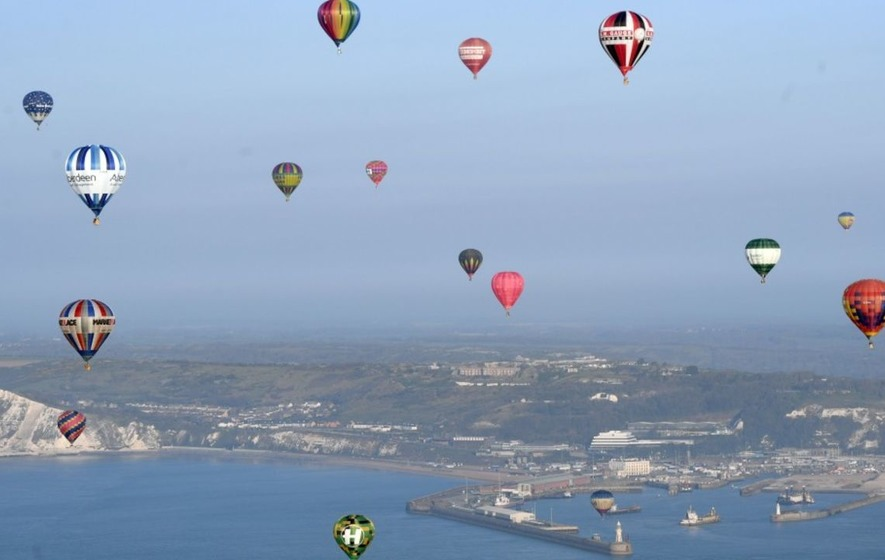 These pictures of hot air balloons floating over the Channel will make you feel incredibly calm