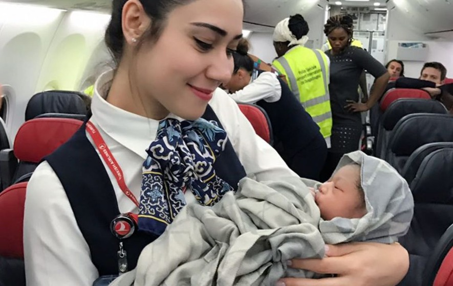turkish airlines cabin crew help deliver baby at 42 000ft On what goes into 42