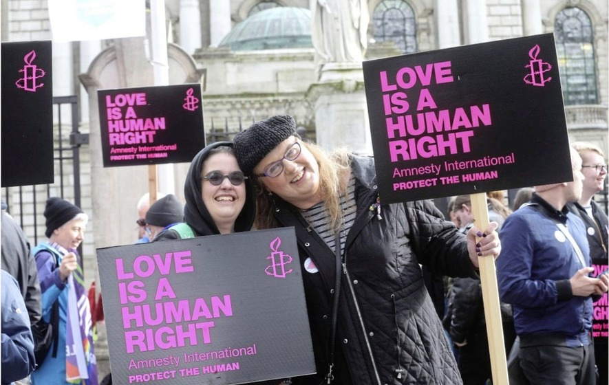 Protest at Belfast City Hall against detention of gay men in Chechnya