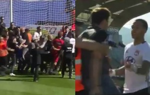 Video: Watch the shocking scenes as Lyon players are attacked on the pitch at Bastia