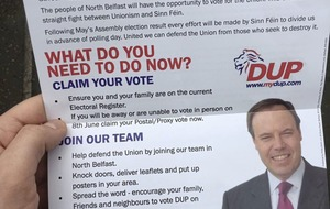 DUP election leaflet gives wrong date for most recent Assembly vote