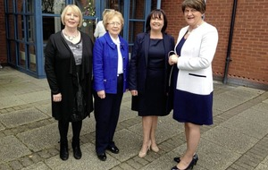 DUP leader Arlene Foster says thank you in Irish during Newry school visit