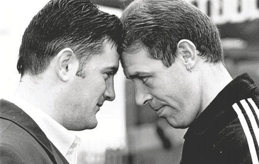 In The Irish News on Apr 29 1997: Darren Corbett and Noel Magee square up for Irish cruiser title