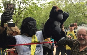 The guy dressed as a gorilla has finally crossed the London Marathon finish line