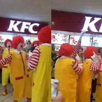 You'll find it very hard not to laugh at this group of Ronald McDonalds gatecrashing a KFC