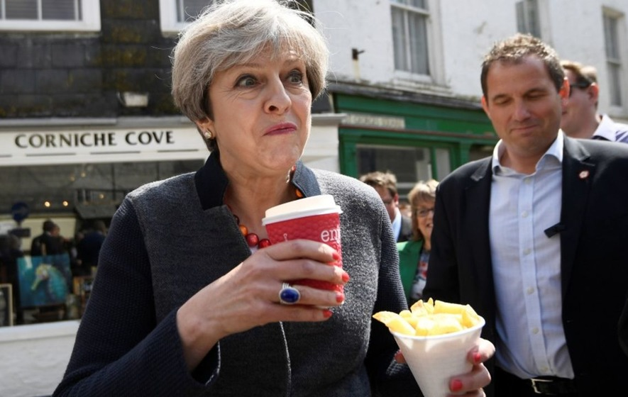 The best reactions to those Theresa May chip photos