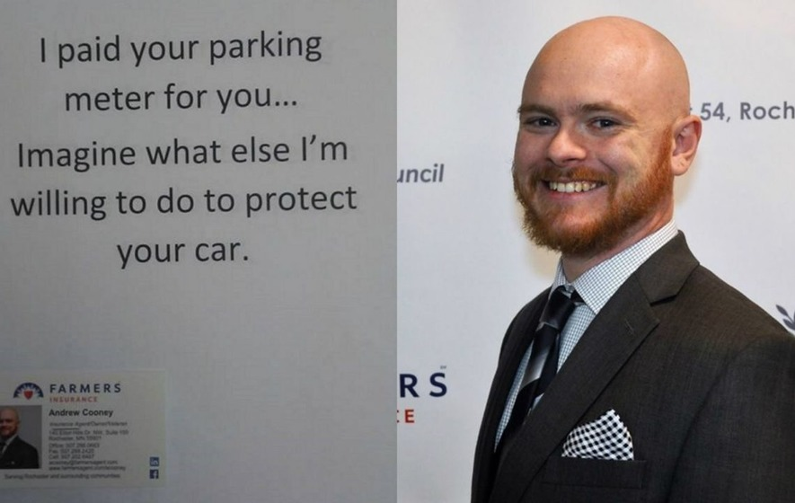 This insurance salesman has a pretty slick way of trying to drum up new clients