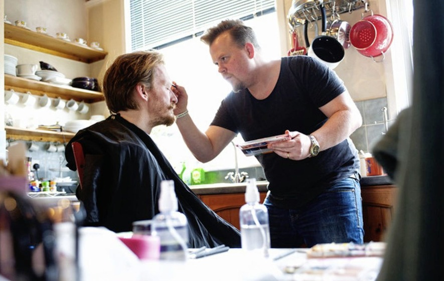 West End wig maker and make-up maestro Andrew Whiteoak at work in Belfast studios