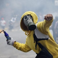 Soldiers use tear gas against student protester in Venezuela