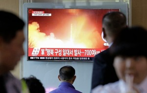North Korea test-launch of ballistic missile lands in Sea of Japan