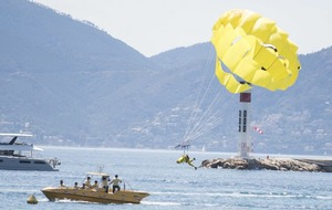 TJ Miller just parasailed into Cannes to promote The Emoji Movie