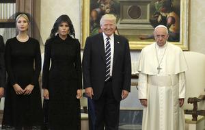 Donald Trump meets unsmiling Pope Francis at the Vatican