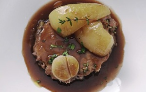 Lamb with Pear and Chocolate Tart
