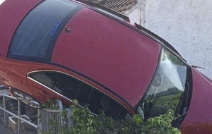 Lucky escape for driver after Merc hits house