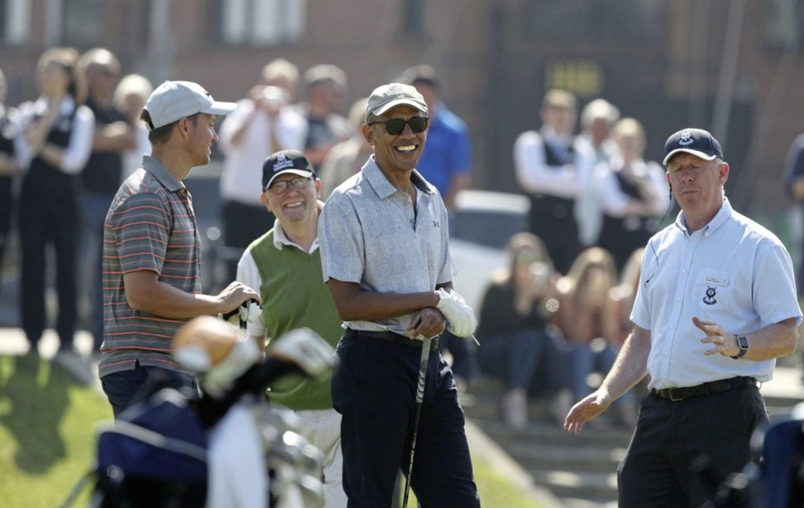 Barack Obama tees off on first visit to Scotland with round of golf at St Andrews