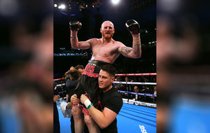 Shane McGuigan celebrates George Groves world title win