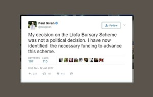 DUP minister's officials first heard of Irish funding U-turn on Twitter