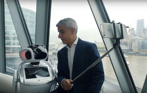 Mayor of London Sadiq Khan takes selfie with a robot to promote London Tech Week