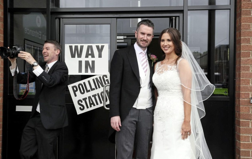 Election candidate stops off at a polling station to cast vote before tying the knot