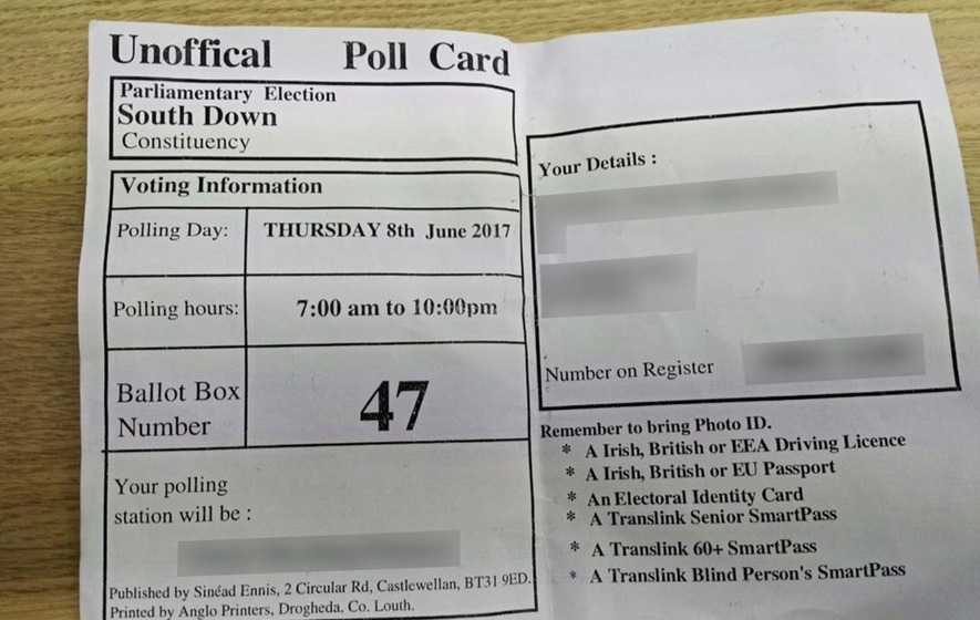 Sinn Féin 'unofficial' polling cards not an offence, says PSNI