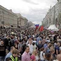 Opposition leader arrested as anti-Putin protests take place across Russia