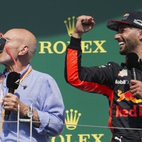 Nothing to see here, just Sir Patrick Stewart drinking champagne out of Daniel Ricciardo's sweaty shoe