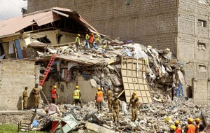 Ten missing after eight-storey building collapses in a low-income area of Nairobi