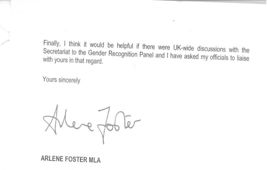 Arlene Foster's letter to Scottish government minister over same-sex marriage