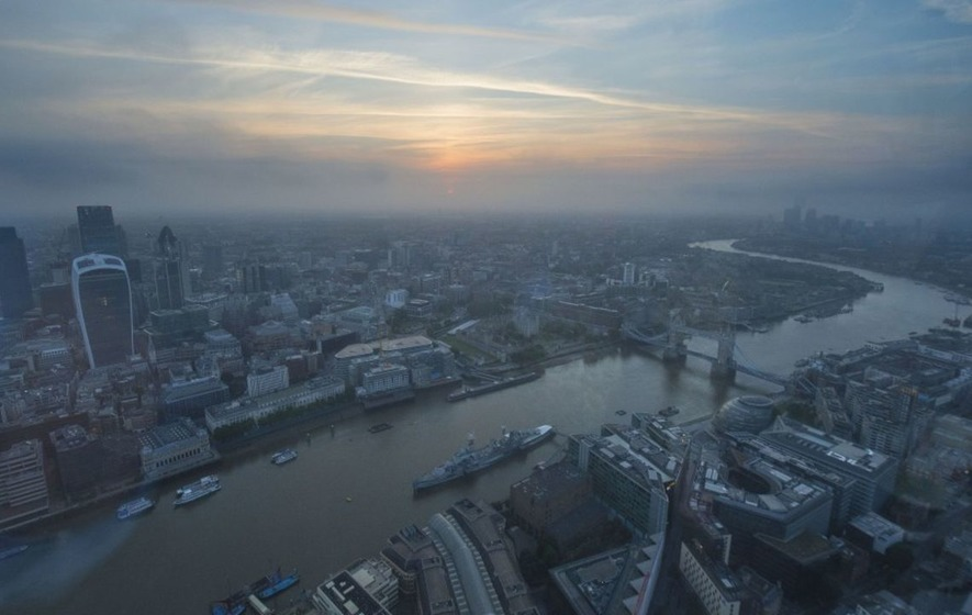 Watch revellers at a summer solstice party in London's Shard