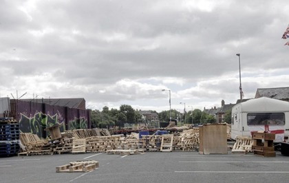 Bonfire material being stored at east Belfast walkway