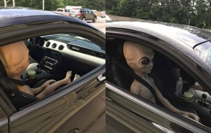 Policeman finds 'alien' in front seat after pulling over driver for speeding