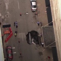 Sinkhole swallows a car while owner works out at the gym