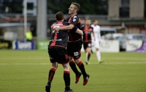 Crusaders dazzle to take Europa League first leg lead over Latvian opponents