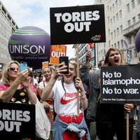 Thousands march through London as part of a demonstration against austerity