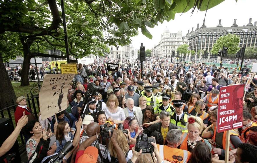 Protest against Conservative-DUP deal and austerity held in London