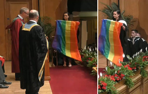 Video: Queen's University graduate collects degree wrapped in Pride flag
