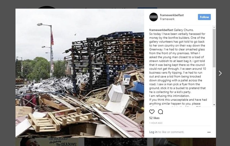 Belfast art gallery complains of 'intimidation' from bonfire builders