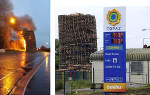 Carrickfergus bonfire built close to petrol station set alight early